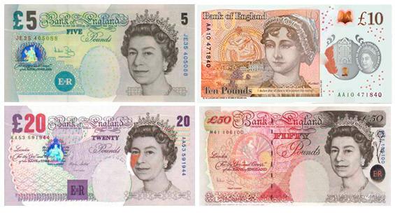 Funt szterling, GBP-banknoty funta brytyjskiego